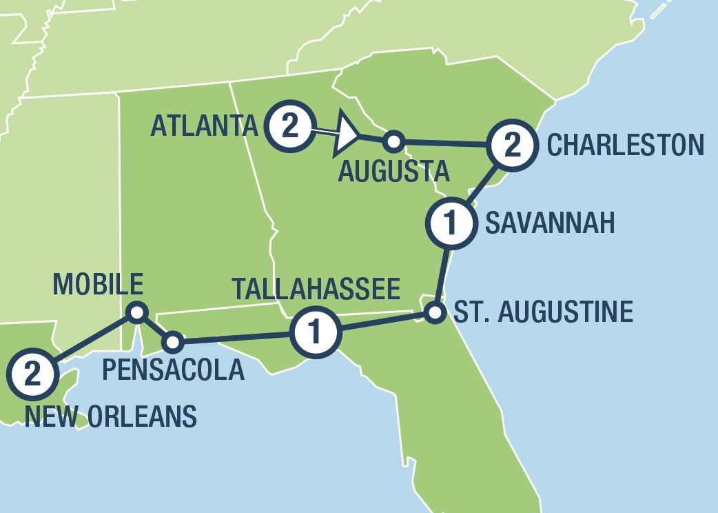 The Southern Belle | Tours and Vacation Packages in USA and ... on daytona usa map, wichita usa map, new orleans usa map, panama city usa map, quebec usa map, norfolk usa map, allentown usa map, fort worth usa map, louisville usa map, savannah ga, lexington usa map, auburn usa map, florence usa map, denali usa map, pueblo usa map, charleston usa map, san antonio usa map, jacksonville usa map, mobile usa map, tulsa usa map,