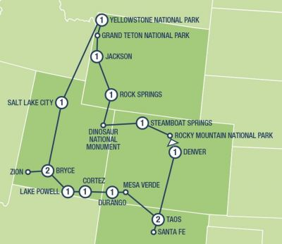 Southwest America Map.American Southwest Tours And Vacation Packages In Usa And Canada